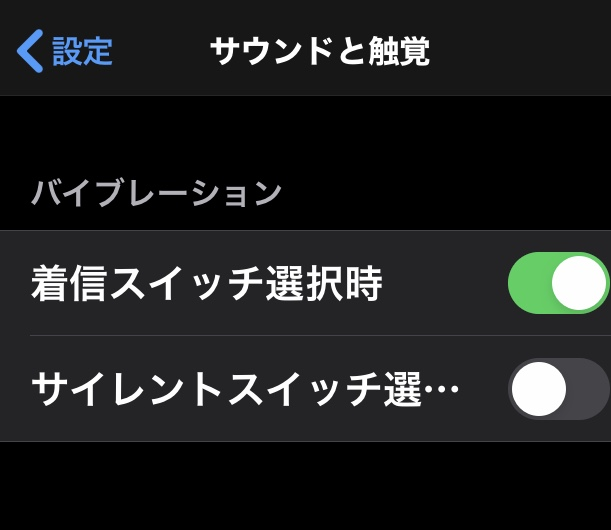 iPhoneのサウンドと触覚画面