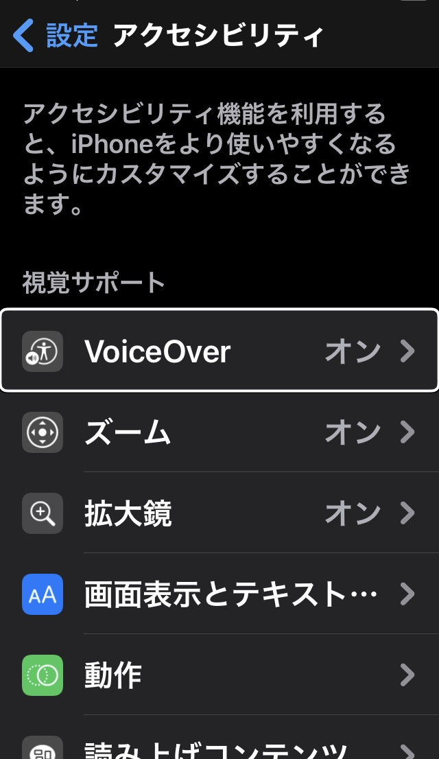 iPhoneのアクセシビリティ画面(Voice Overメニューの表示あり)