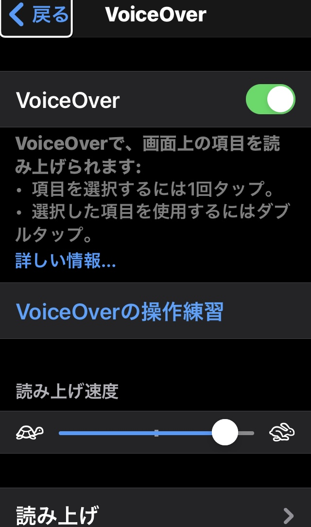 iPhoneのVoice Over画面