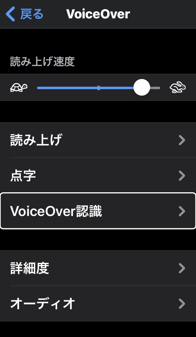 iPhoneのVoice Over画面(Voice Over認識の表示あり)