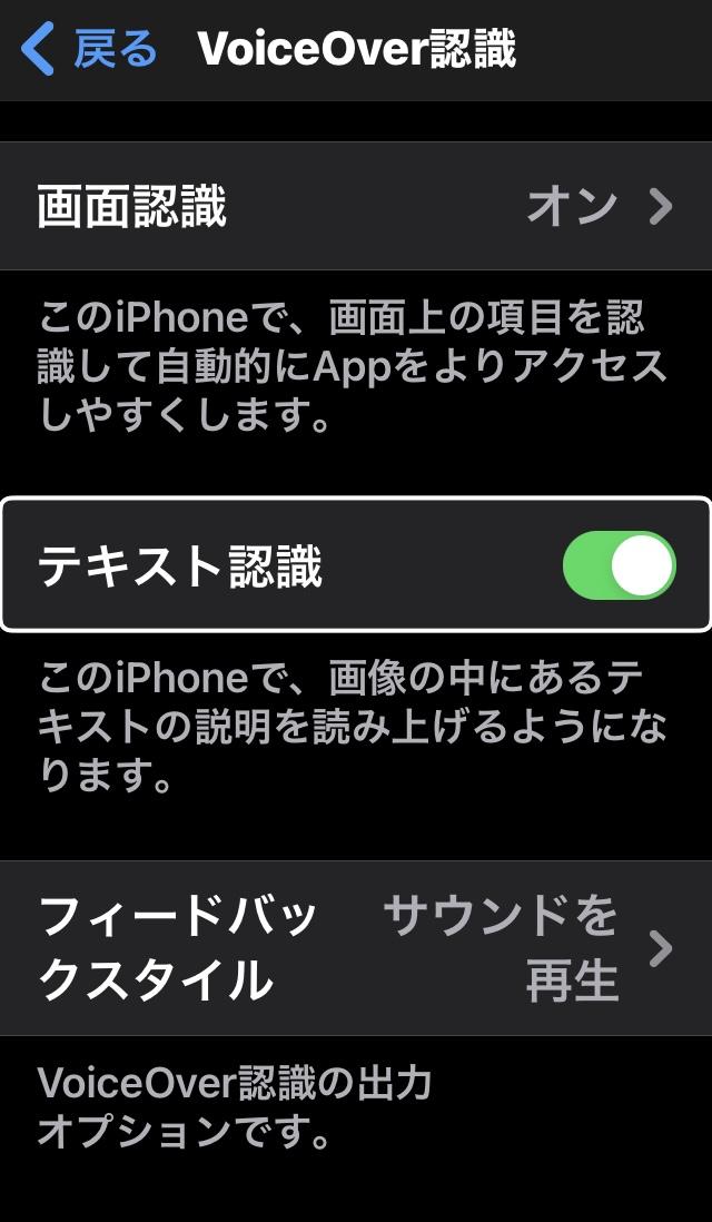 iPhoneのVoice Over認識画面(テキスト認識メニューの切り替えボタンあり)